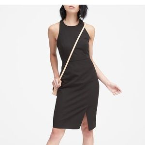 Bi-stretch racer neck sheath dress